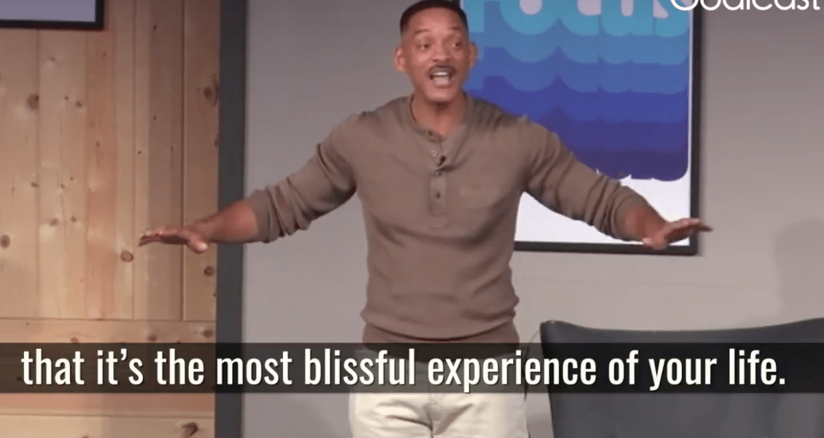 Will Smith's motivational speech over angst en geluk moet je even zien